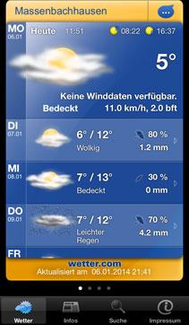 Die alte Version der Wetter.com-App