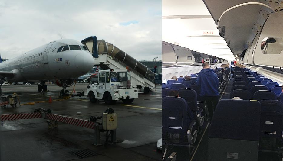 Die MAschine nach Kopenhagen startet mit leichter Verspätung - unser Glück. Passagiere hat sie jedoch kaum.