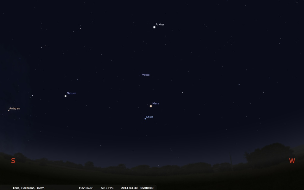 MArs und Saturn am Morgenhimmel. Grafik: Stellarium