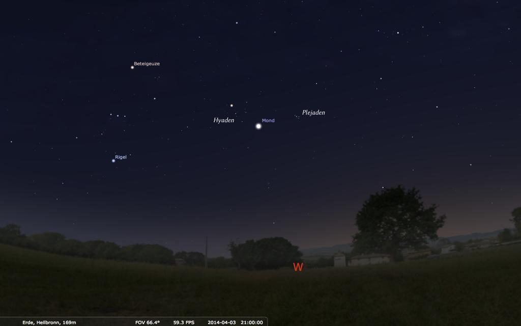 Der Mond im Goldenen Tor der Ekliptik. Grafik: Stellarium