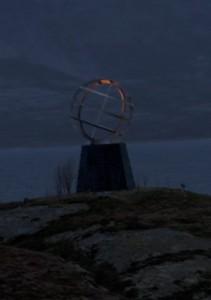 Die Weltkugel, die den Polarkreis markiert.