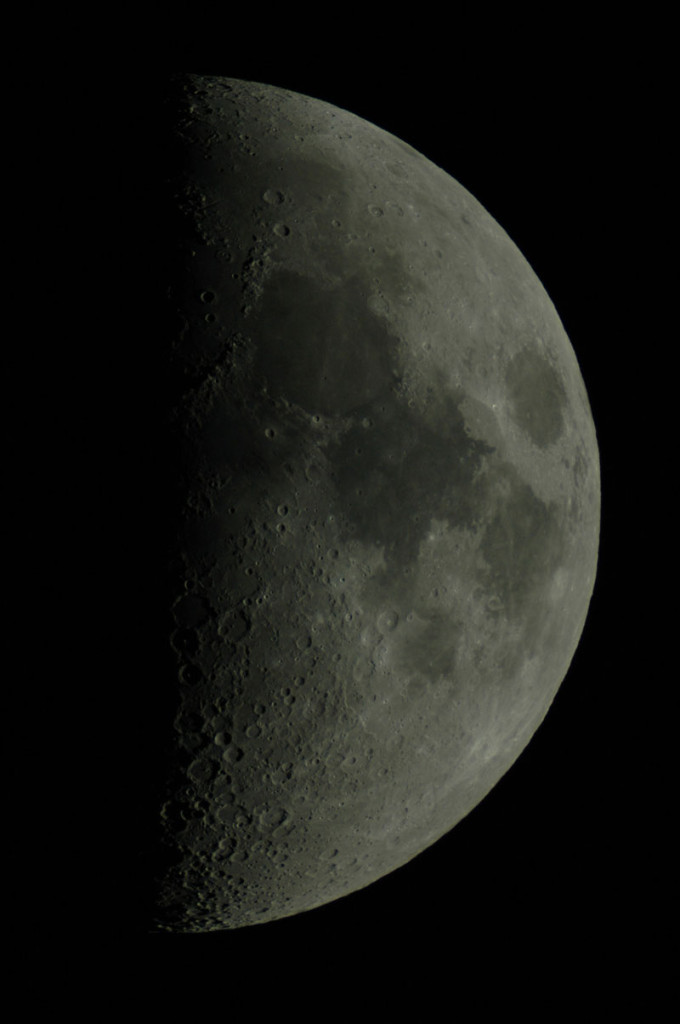 Mond, 5. Juni 2014, mit 150/2250 Coudé der Sternwarte Heilbronn und Nikon D70S.