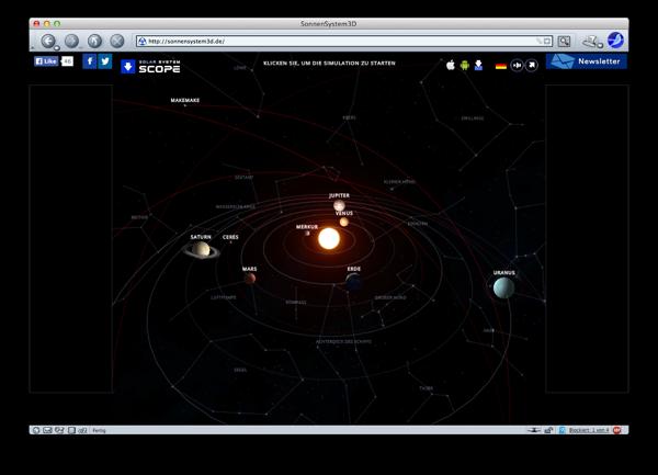 Ein virtuelles Sonnensystem auf http://sonnensystem3d.de/