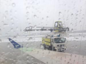Flugzeugenteisung auf dem Stuttgarter Flughafen
