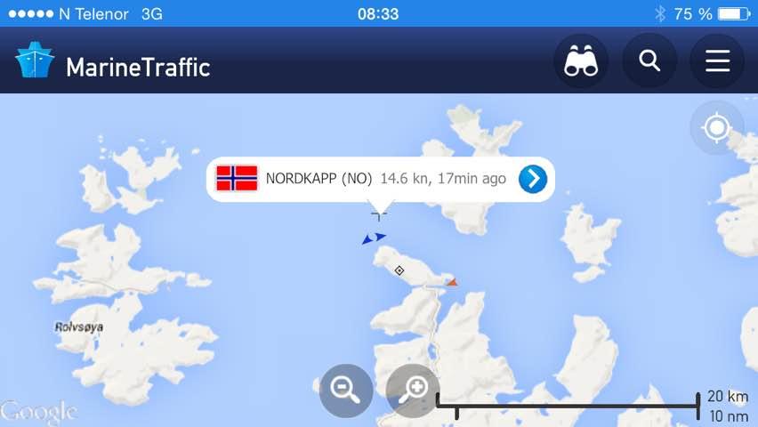 Nordkapp meets Midnatsol um 8:20 Uhr.