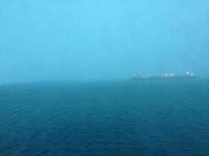 Entweder die Amalthea oder die Antarctic im Nebel – ich bin aus Marinetraffic nicht schlau geworden.