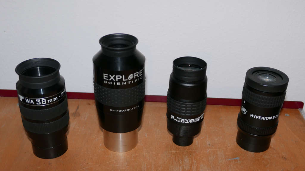 Die Okulare des Abends: TSWA 38mm, Explore Scientific 20mm, Morpheus 9mm, Hyperion Zoom 8-24mm
