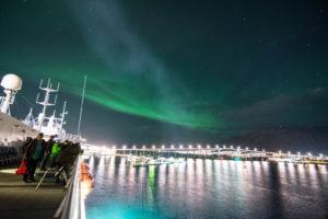 Polarlicht im Hafen