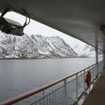 Blick zurück auf Øksfjord