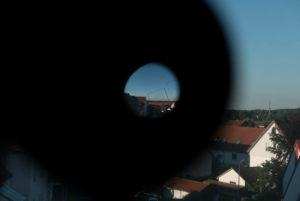 Der Quell des 3D: Plättchen in einem Okular