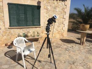 Testaufbau für die Sonnenfinsternis
